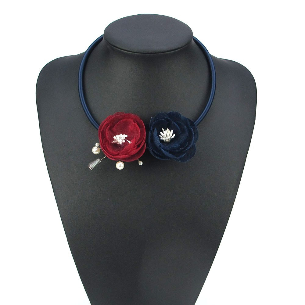 Handmade Boho Red & Blue  Rose w/Pearl Spray Floral Necklace