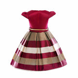 Satin & Stripes Cap Sleeve Belted Winter Flower Girl Dress Sizes 2T – 10