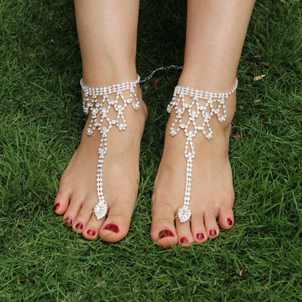 Elegant Rhinestone Wedding Barefoot Sandals