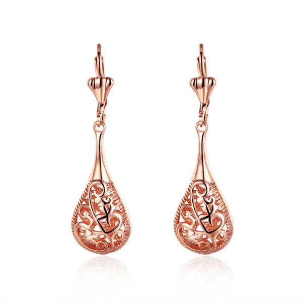 Rose Gold Plated Sculpted Tear Drop Bridal Earrings