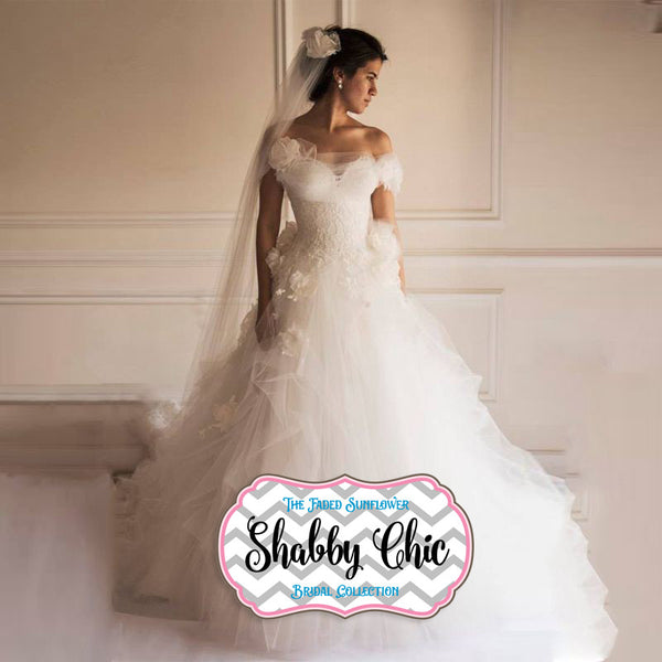 Tulle and Roses Shabby Chic Wedding Gown – Avail Up to Size 26 W