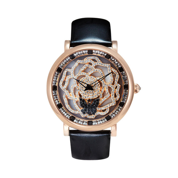 Rotating Rose Women's Quartz Watch