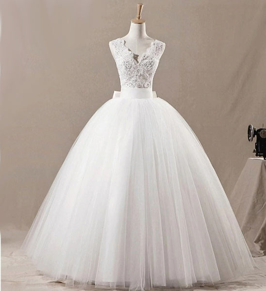 The Sally - Hand Beaded Large Bow Lace & Tulle Ball Gown Style Wedding Dress
