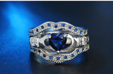 Sapphire Heart CZ Claddaugh Bridal 3 Piece Set