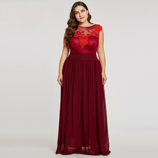 Sexy Red Lace Over Satin Evening Gown  - Up to Size 28W