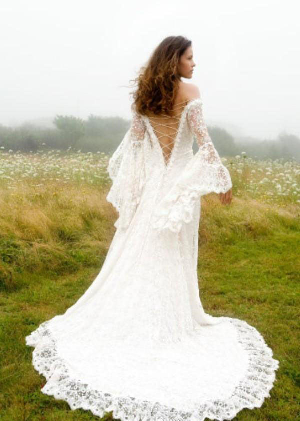 The Serendipity :: All Lace Bell Sleeve Cross String Back Boho Wedding Dress :: On Sale $200 Off w/ Free US Shipping!