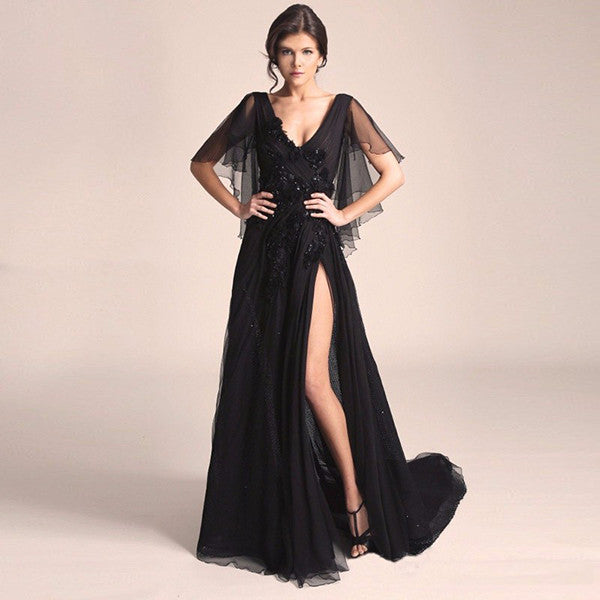 Sexy Chiffon Goth Wedding Dress