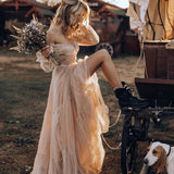 The Shayla - Sexy Boho off shoulder long Sleeve Tiered Tulle Dress