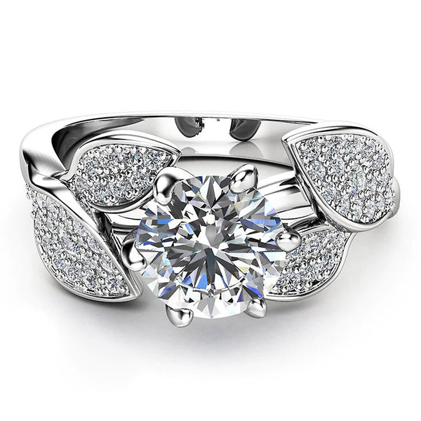 Dazzling Sterling Silver AAA CZ Tulip Engagement Ring