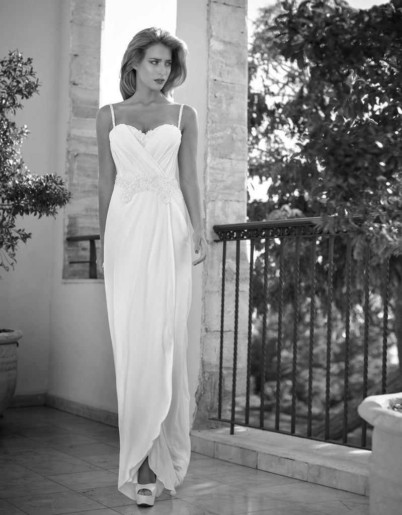 Bohemian Simplicity Spaghetti Strap Chiffon Beach Wedding Dress - Spaghetti Strap Wedding Dresses