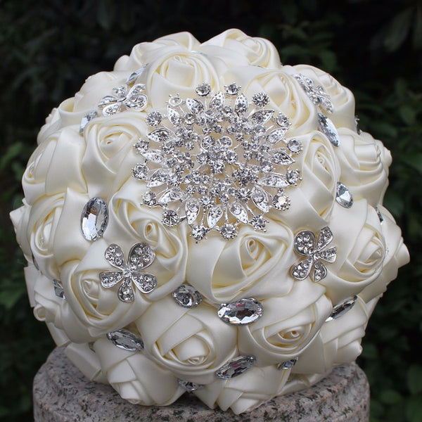 Starburst Crystal and Satin Broach Wedding Bouquet