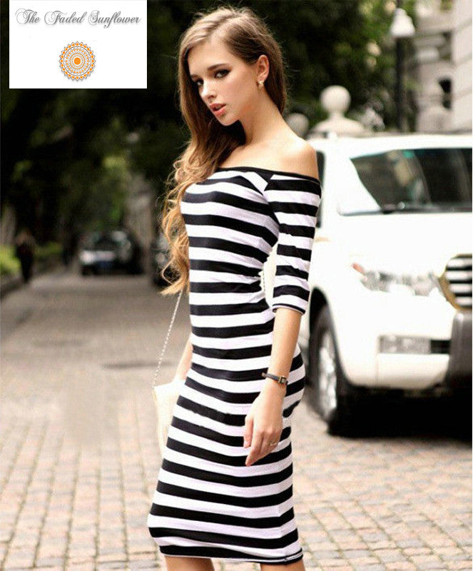 Boho Striped Half Sleeve Off Shoulder Mini Dress