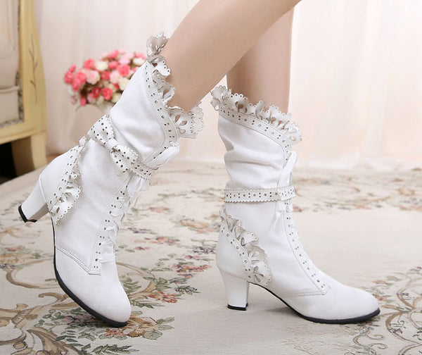 Suede Lace & Bows Midi Bridal Boots