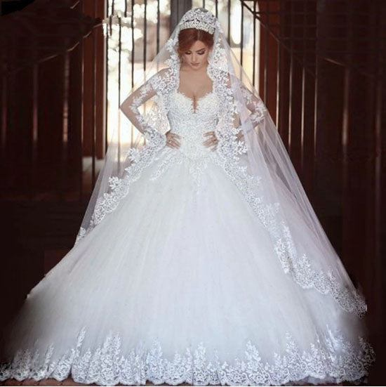 The Susan Long Sleeve Lace A-Line Wedding Gown