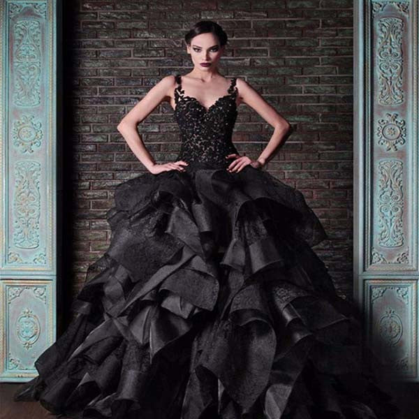 Black Taffeta Layerd Ball Gown Style Wedding Dress