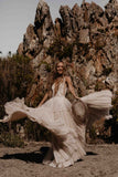The Tanya - Boho Style Layers of Tulle & Lace Beach Gown