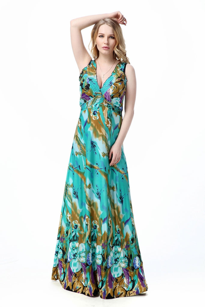 Boho Chic  V-Neck Backless Teal Hibiscus Maxi Dress   – Plus Size up to 20W