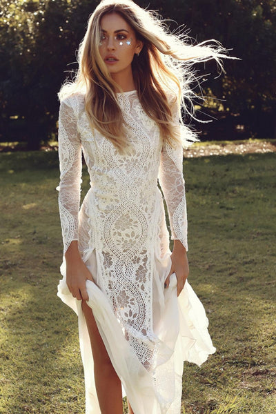 The Tomei - Boho Lace Sheath Wedding Dress