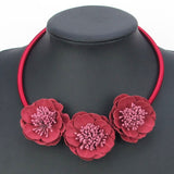 Triple Flower Silk Floral Necklace – Available in 5 Colors!