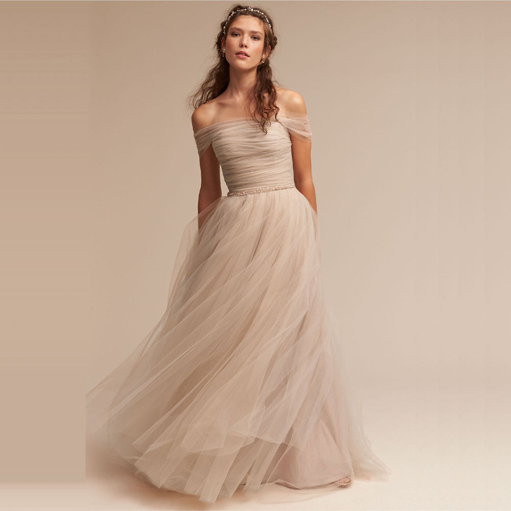 Romantic Champagne Soft Tulle Beach Wedding Dress – The Faded Sunflower