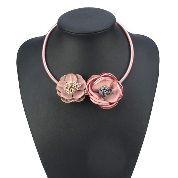 Two Tone Pink Silk Floral Necklace