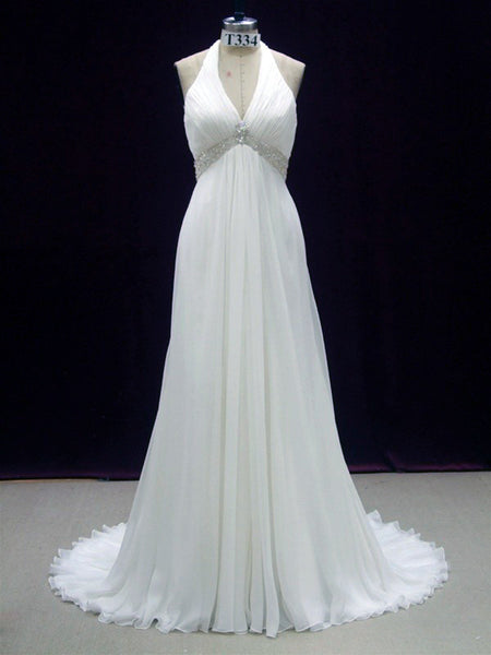 Bohemian Halter Beach Wedding Gown - On Sale! $200 Off with FREE US Shipping!