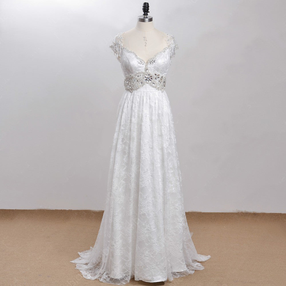 Exquisite Bohemian Vintage Victorian Beaded Wedding Gown – Plus Size