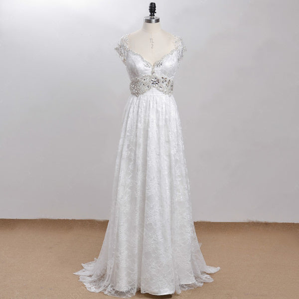 Exquisite Vintage Victorian Beaded Wedding Gown – Plus Size Up to 26W- On Sale! $200 OFF Regular Price!