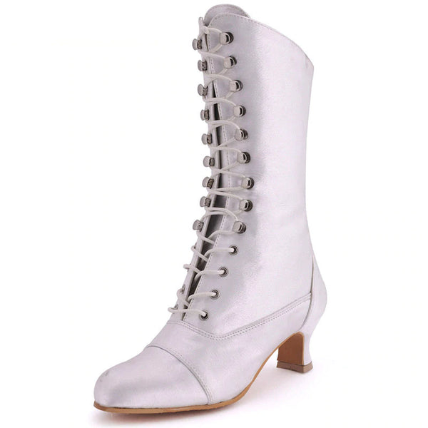 Victorian Style Satin Chunky Heel Bridal Boots