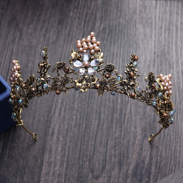 Handmade Vintage Antique Gold Beaded Bridal Headband/Tiara