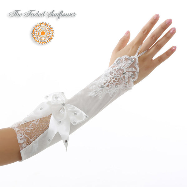 Vintage Bow Tie and Swarovski Crystals Bridal Gloves