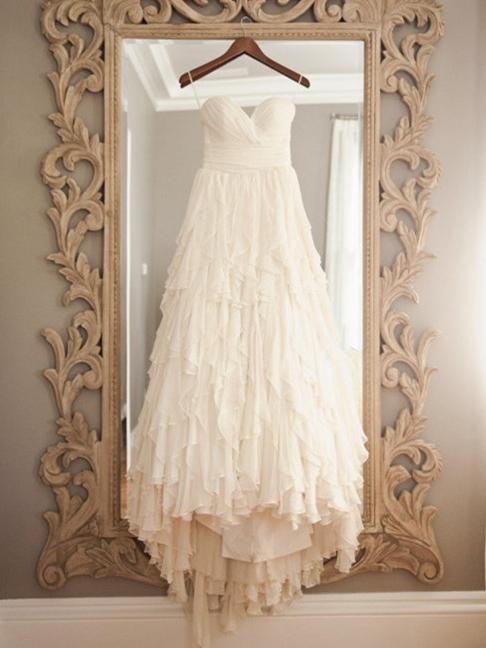 Shabby Chic Soft Chiffon Layers Wedding Dress