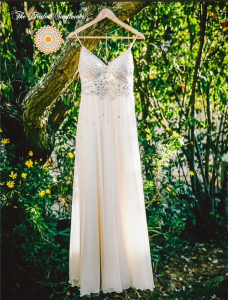 Bohemian Crystal Elegance Beach Wedding Dress