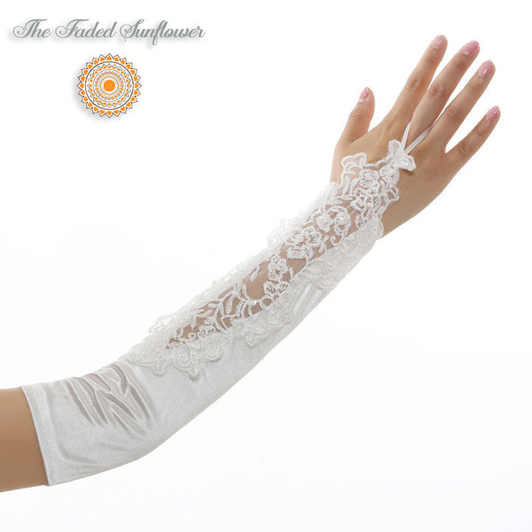 Vintage Style Lace and Satin Bridal Gloves