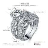 Vintage CZ Sculpted Wide Band Bridal Set