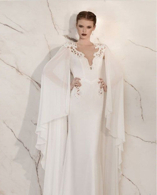Vintage Watteau Style Chiffon Wedding Dress :: Autumn Collection ...