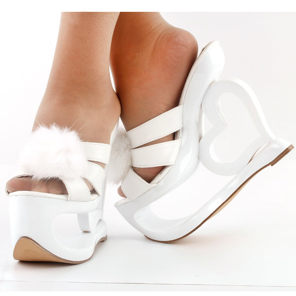White Sculpted Heart Slip On Platform Wedding Shoes  :: Limited Quantities