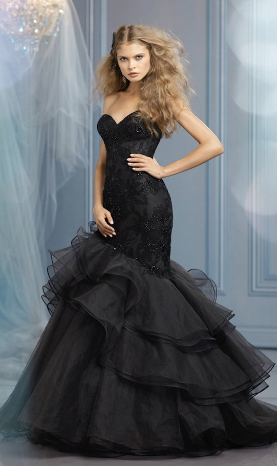 Sexy Black Fit and Flare with Layered Tulle Flared Skirt
