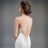 Sexy Beaded Criss Cross Sheath Style Wedding Dress