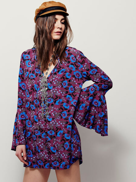 Boho Floral Mini Dress with Flare Sleeves
