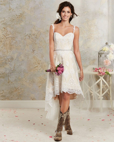 Boho High-Lo Lace Beach Wedding Dress