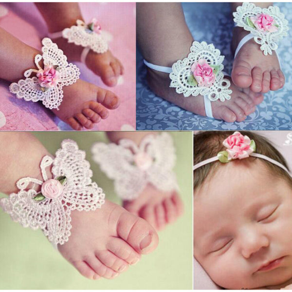 Boho Baby Crochet Butterfly Barefoot Sandals Set :: Seven Designs to Choose From.