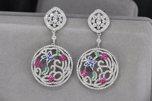 Cubic Zirconia Round Butterfly & Flowers Luxury Earrings