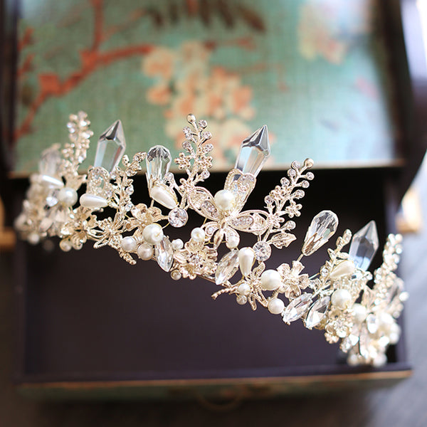 Handmade Gold Plated Crystal & Butterfly Bridal Tiara