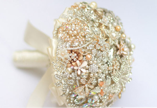 Exquisite Crystal, Pearl, & Gold  Broach Wedding Bouquet