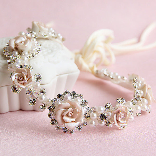 Boho Roses & Pearls Bridal Head Band