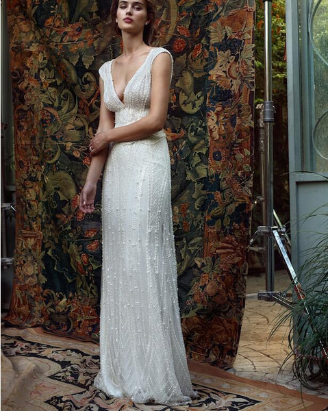 Inspired by Lihi Hod Hand Beaded Gown Replica from the White Bohemian Collection - Use Code: BOHO300 for $300 Off & Free US Shipping!