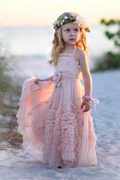Boho 3D Ruffled Rose Flower Girl Dress