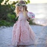 SAMPLE - Boho 3D Ruffled Rose Flower Girl Dress