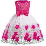 Spring/Summer 3D Embroidered Flower Girl Dress with Faux Pearl Embellishment